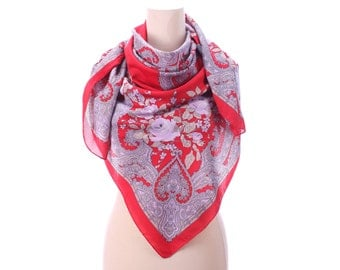 Red Paisley Shawl 80s BOHEMIAN Wrap Scarf Boho Floral Lilac Print Extra Large Nomad Neck Wear 45 inch Womens Gift Urban Boho Shawl Moms Gift