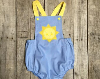 You are My Sunshine First Birthday sunsuit blue and yellow
