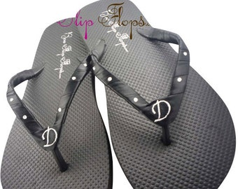 Bridesmaid Wedding Flip Flops// Many Colors// Swarovski Rhinestone Accented Satin Bridesmaid Flip Flops in black and white -