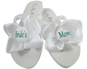 Jade & White Satin Bow Wedding Flip Flops- Personalize with Bride's Mom, Groom Mom, Bridesmaid, Flower Girl or Bride
