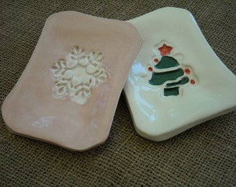 Holiday Soap Dish - Christmas Pottery - Christmas Decor