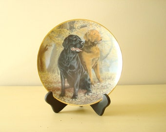 Lifelong Companions, Labrador retrievers, Franklin Mint collectible plate, Nigel Hemming, lab lovers gift, black lab, yellow lab
