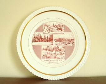 Souvenir of Sheboygan, decorative china plate, dark red & white, 24 kt trim, Vollrath Park, Kohler factory, mid-century china, wall plate