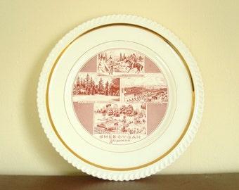 Souvenir of Sheboygan, decorative china plate, dark red & white, 24 kt trim, Vollrath Park, Kohler factory, mid-century china, wall plate
