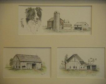 Barns farm dog country watercolor graphite pencil drawing rural old barn landscape m3 DrawingsPlus original artwork