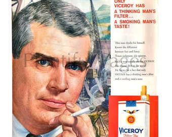 1958 Viceroy Cigarettes Vintage Ad, Advertising Art, Vintage Illustration, 1950's Cigarette Ad, Retro Ad, 1950's Construction Site.