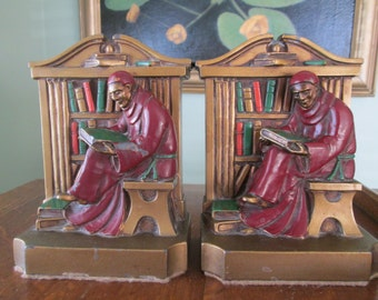 Monk Metal Bookends LV Aronson 1920 Made USA Art Deco Friar Monk Library Bookends Home Library Desk Accessory