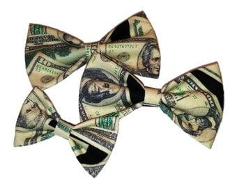 Money Bow Tie - Dollar Clip on Bow Tie - Cat Bow - Dog Bowtie - Hair Clip - Self Tie Bow Tie