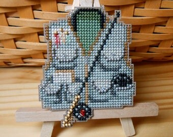 Fishing Vest Cross Stitched and Beaded Ornament, Magnet, or Pin - Free U.S. Shipping