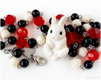 Alice in Wonderland White Rabbit Necklace, Beaded Chain, Black, Red, Cream, Roses, Fairy Tale, Kawaii, Gothic Lolita