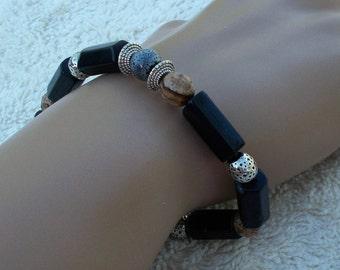 Black ONYX PICTURE JASPER Mens or Womens Beaded Stretch Bracelet