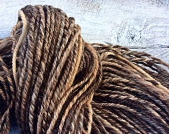 One of a kind - brown Handspun yarn - heavy worsted weight - variegated - handmade - luxury wool - crocheting - knitting - gift for knitters
