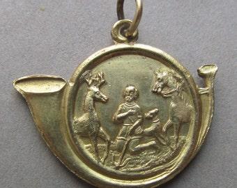 Saint Hubert Religious Medal Holy Stag Catholic Antique Pendant   SS363