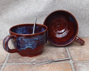 Hot chocolate or soup mugs handthrown stoneware with tea coffee