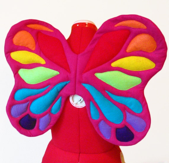 Rainbow Fairy Wings. Felt, No Wire. Bright Butterfly. Two sizes. Original design.