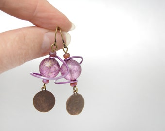 Long Purple Earrings Modern Planetary Swirl Planet Saturn Rings in Purple and Gold