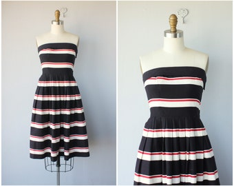 1980s does 1950s Sun Dress | 80s does 50s Dress | Lanz Originals Dress | Striped Day Dress | Fit and Flare Dress