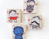 Macho Men Doodle Magnets - Set of Four Square Doodle Magnets - Valentines Gift