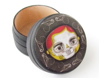 Day of The Dead  SKULL Pill Box - Sugar Skull Wedding Ring Box - Skull Powder Box, Skull Vitamin Box - Pot Stash - Guitar Picks Holder