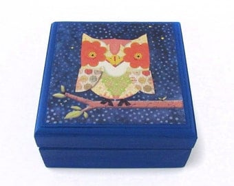 OWL perched on a Branch Wooden Box - Constellation Night OWL on Branch design - Small square Jewelry Box - Birthday Gift for children