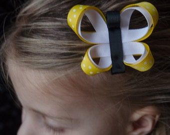 Hair Bow - Bright Yellow Butterfly Ribbon Sculpture