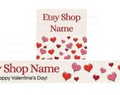 Etsy Banners - Graphic Design Shop Banner - Valentine's Day Banner and Shop Icon Set  - PS 3 - Etsy Valentine's Banners - 2 Piece Set