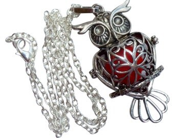 YOur perSOnal STYlish Essential oil necklace diffuser Steampunk owl d1 0