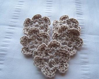 Flower crochet motif 1.5 inch cotton set of 5 sand small flowers