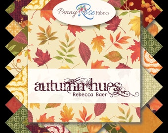 """Autumn Hues 18 10"""" Stacker Squares  Layer Cake precuts by Penny Rose  100% cotton fabric for quilting"""