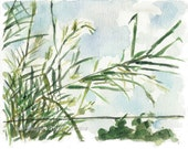 art print Windy Day No 2, bamboo watercolor print, aquamarine sky, landscape print, bamboo plant art, windy day art, modern art, home decor