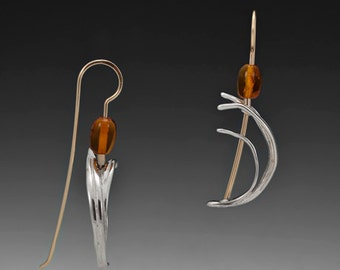Cattail Sterling Silver and Gold-Fill Hook Earrings with Amber