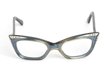 1950s vintage French blue cat-eye rhinestone eye glasses frame * House of Parisian Lunettes AC096