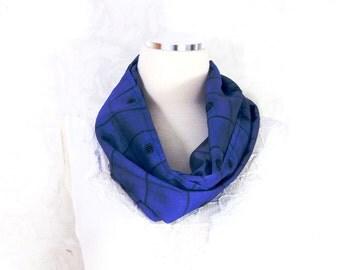 Cobalt Blue Silk Scarf Sari Silk Infinity Scarf Womens Scarf Fall Scarf Summer Scarf Lightweight Scarf Upcycled Scarf Eco Fashion OOAK