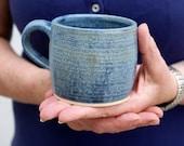 SECONDS SALE - Two stoneware pottery mini mugs in smokey blue
