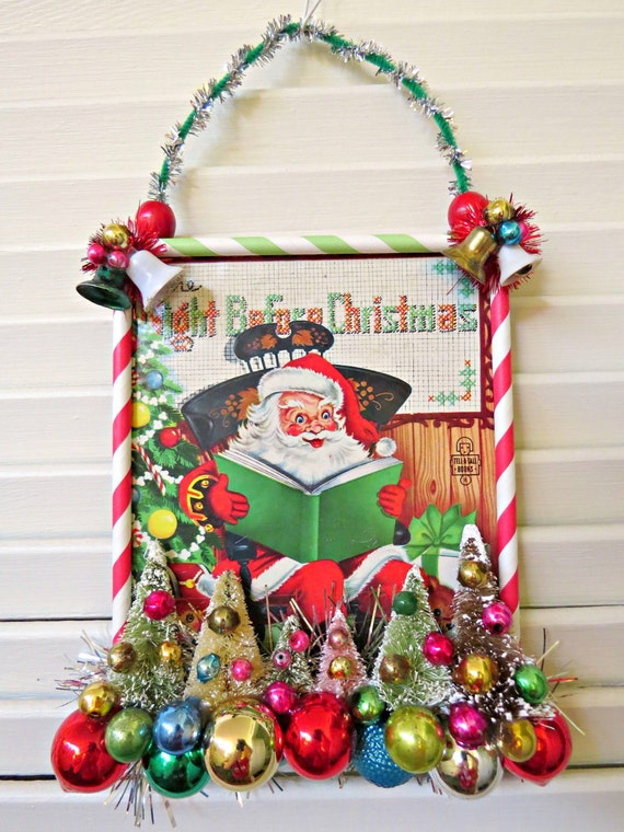 Vintage cute book cover christmas wall decoration by