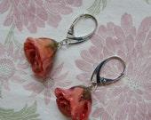 REAL Rosebud Earrings - Pink Rose Rosebud Flower - Sterling Silver Earrings