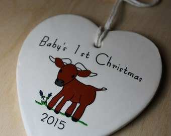 Baby's 1st Christmas Ornament - little longhorn 2017