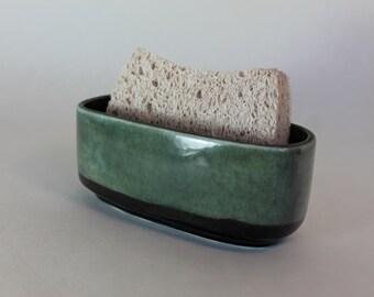 ceramic sponge holder - gray and charcoal
