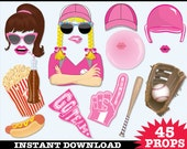 Softball Photo Booth Props, Softball Party, Baseball Birthday, Baseball Party, PINK -  Instant Download PDF - 45+ DIY Printable Props