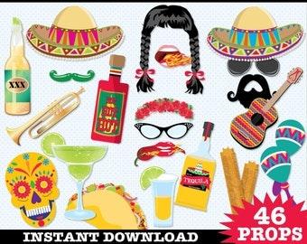 Cinco De Mayo Mexican Fiesta Photo Booth Props - Instant Download PDF - 46 DIY Printable Props
