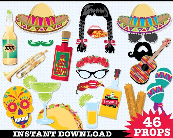 Cinco De Mayo Photo Booth Props - Fiesta, Mexican Holiday, Includes4 Speech Bubbles   Instant Download PDF - 46 DIY Printable Props