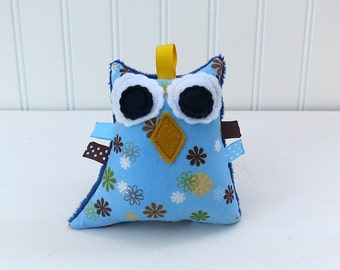 Owl Rattle Plush Owl Softie Blue Green Yellow Brown Ready to Ship