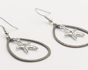 Summer Starfish Earrings, Hoops, Starfish Earrings, Metal