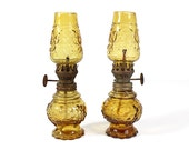 Two Miniature Antique Amber Glass Hurricane Oil Lamps