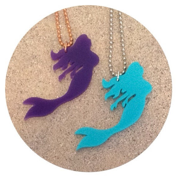 Mermaid Necklace in Acrylic - Purple or Turquoise Pick One - Beach Necklace - Mermaid Gift - Gift for Her