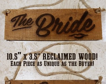 "Rustic Wedding Signs Set - ""The Bride"" + ""The Groom"""