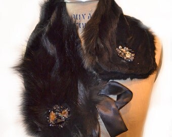 Black Fox and Mink Reversible - 4 way scarf