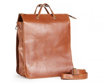 Large, Leather, Multiple Section, Laptop Bag, Mac Book Pro Case, Briefcase- The Milano