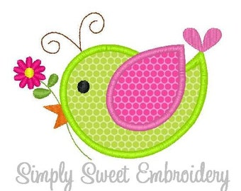Bird Flower Machine Embroidery Applique