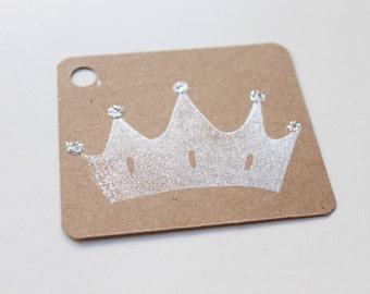 PRINCESS favour tags,PRINCESS gift tags, princess tiara thank you tags, favour bag tags,  X 10